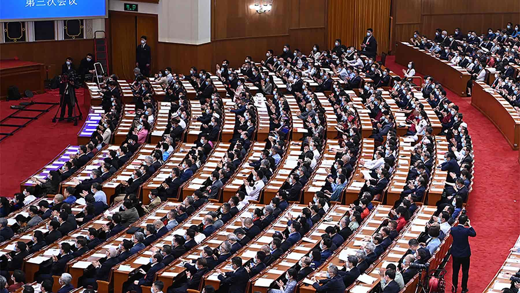 全国政协十三届三次会议举行第二次全体会议。新华社记者 张领 摄