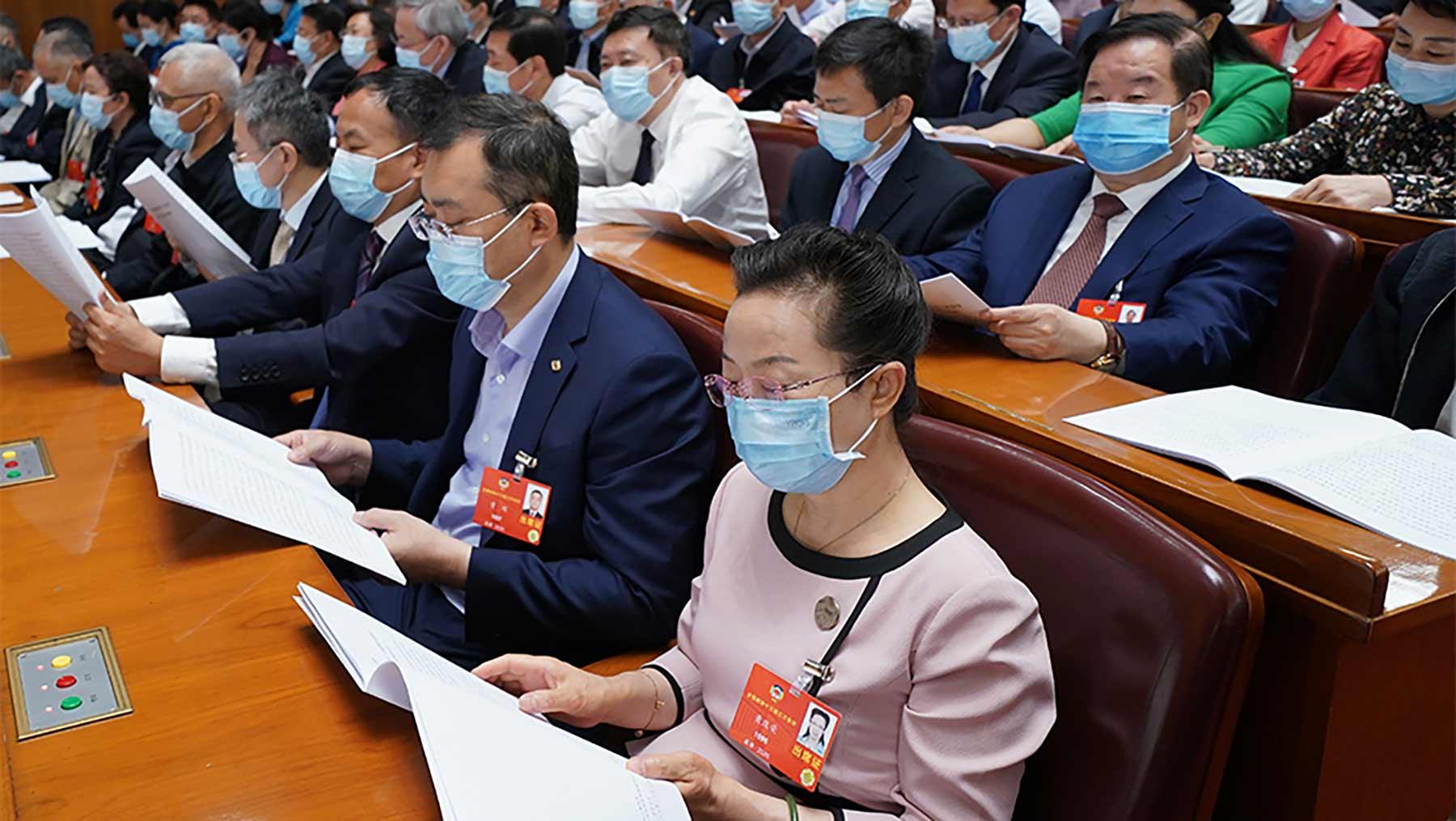 委员们认真听会。新华社记者 邢广利 摄