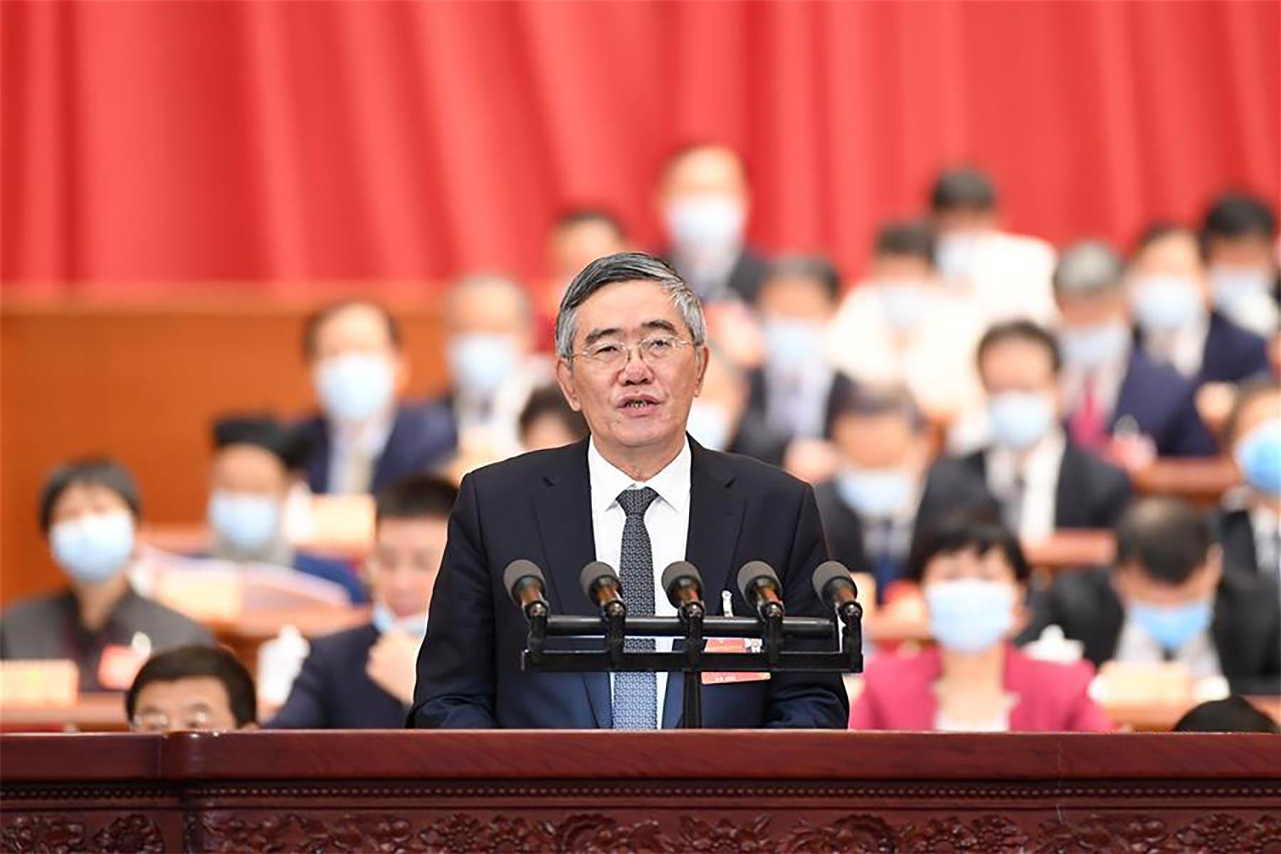 杨伟民委员作大会发言。 新华社记者 燕雁 摄