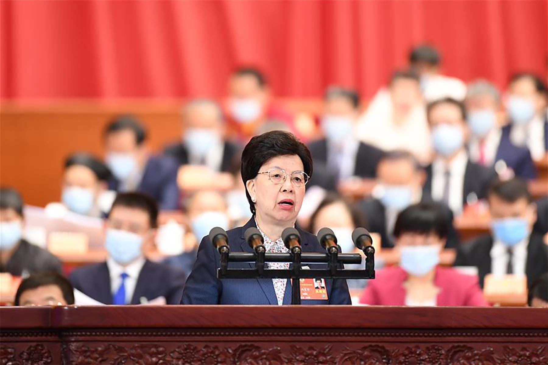陈冯富珍委员作大会发言。新华社记者 刘彬 摄