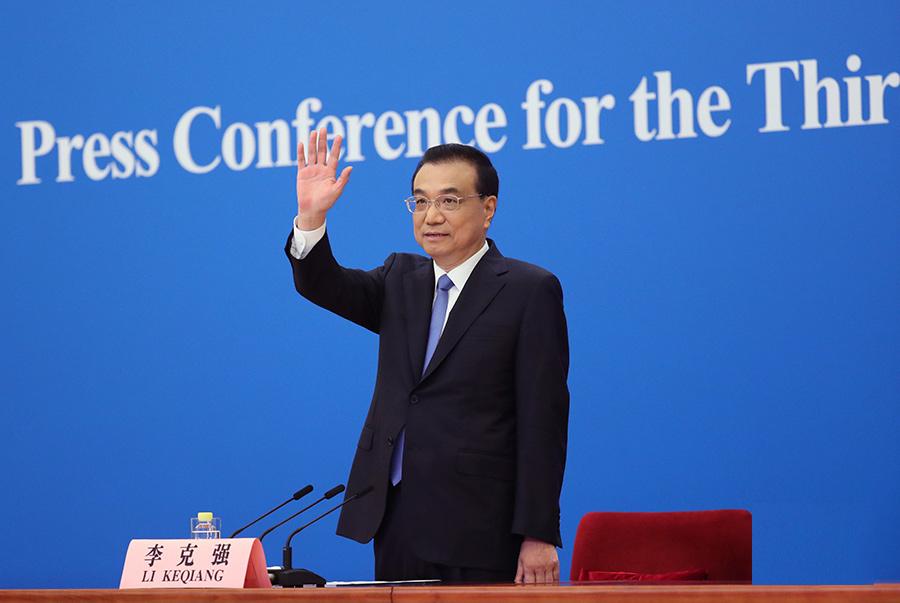 李克强出席记者会并回答中外记者提问。新华社记者 姚大伟 摄